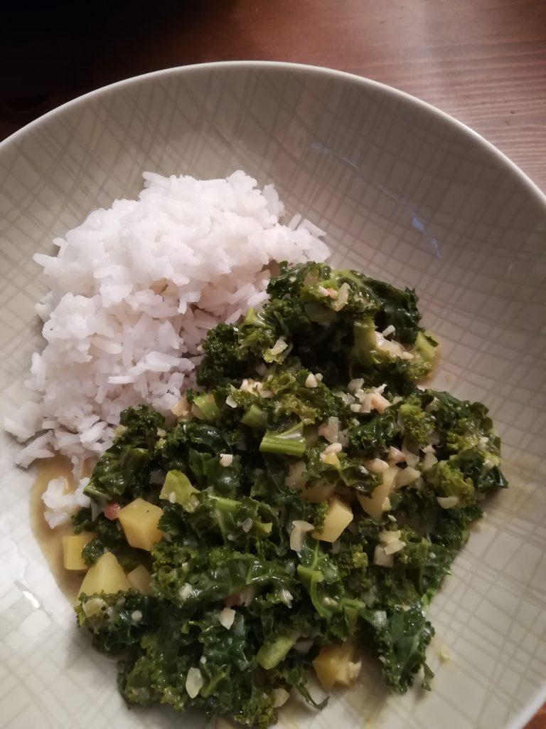 grünkohl curry kartoffel reis